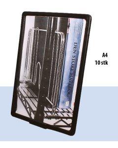 A4 plastramme med bordholder, sort, 10 sett