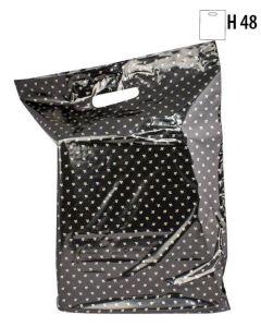 Plastpose, sort m/gullblademønster, 34x4xH48