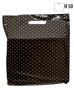 Plastpose, sort m/gullblademønster, 40x5,5xH50