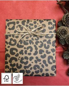 Gavepapir natur m/ jaguar print - B 57 cm