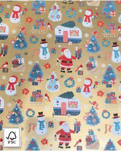 Julepapir m/ sne- og julemænd på camping - B 50 cm