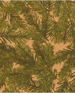 Julepapir m/ grangrene, kraft natur - B 70 cm.