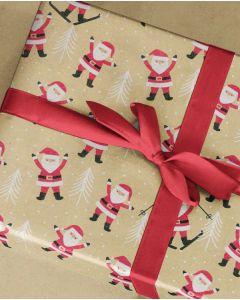 Julepapir m/ julemænd, guld - B 70 cm.