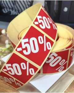 Røde etiketter m/ prosent - 500 stk. -50%