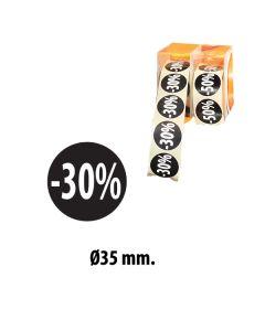 Sorte etiketter m/ prosent - 500 stk. -30%