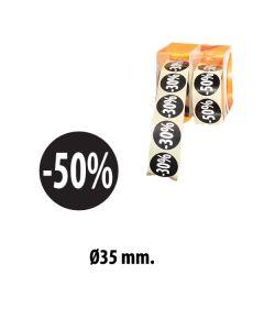 Sorte etiketter m/ prosent - 500 stk. -50%