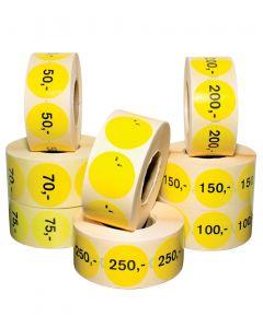 Etiketter gul m/ pris - 1.000 stk.