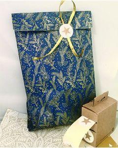 Gaveposer - H 35 cm. - Guld grene/ blå - 150 stk.