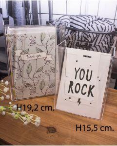 Postkortholder - klar (11,5 x 6,5 x H 15,5 cm.)