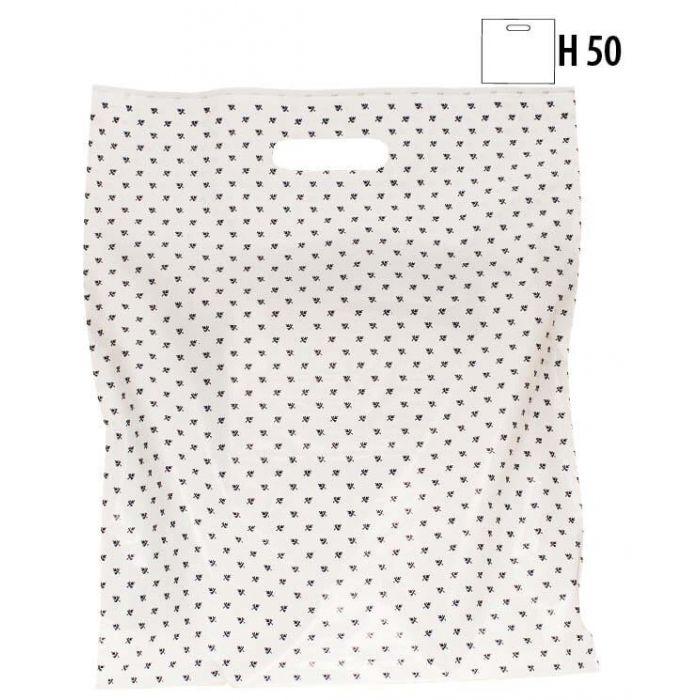 Plastikpose m/ blåt blad - Stor - 100 stk.