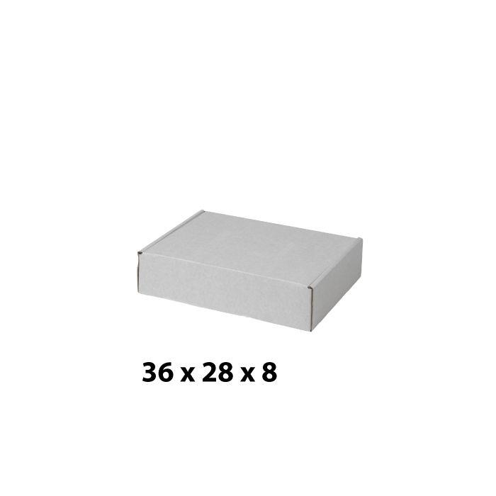 Hvit pappesker (B 36 x H 8 cm.)