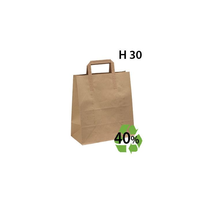 Papirpose, gjenbrukspapir - Stor - 100 stk.