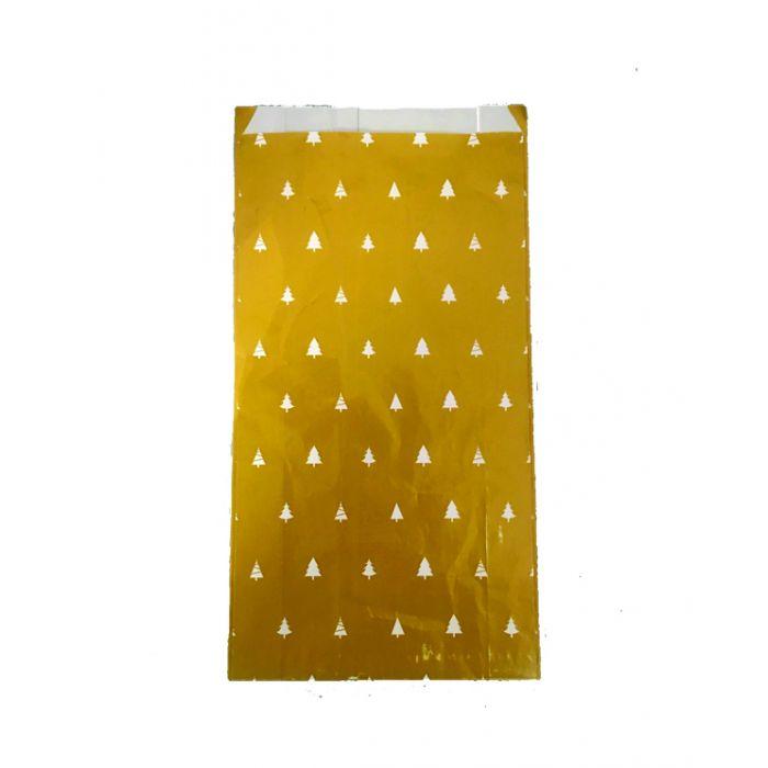 Gaveposer - H 35 cm. - Juletræer på guld - 150 stk.