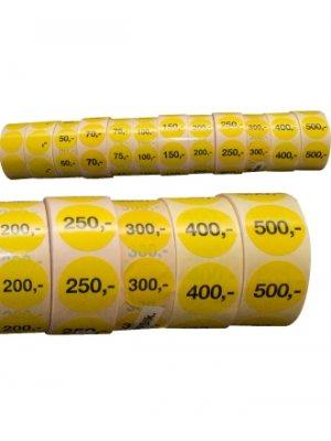 Gule etiketter m/ fast beløb - 1.000 stk.