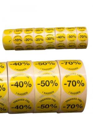 Etikett gul rund % (Norsk)